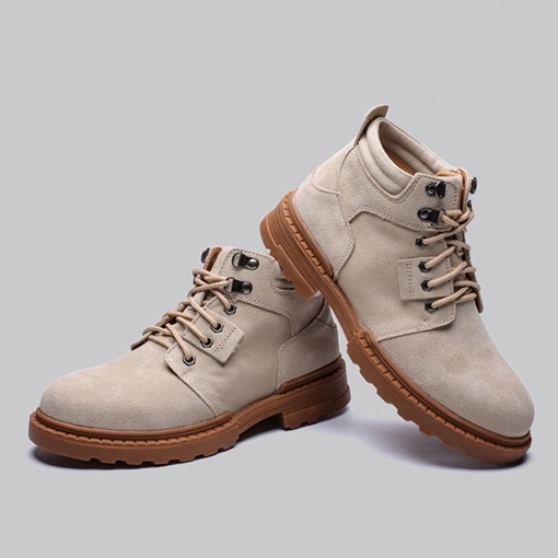 Lace-Up Front Round Toe Plain Men's Martin Boots