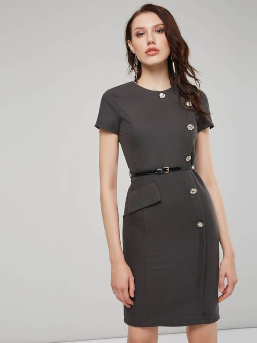 Short Sleeves Button Women's Sheath Dress