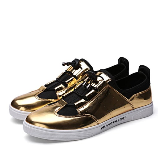 Lace-Up Round Toe Patchwork Metallic Men's Sneakers