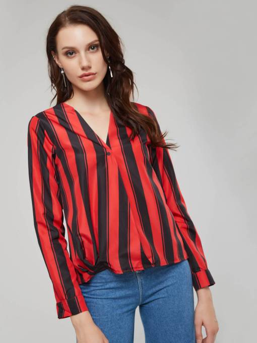 Plain Stripe Color Block V-Neck Women's Shirt