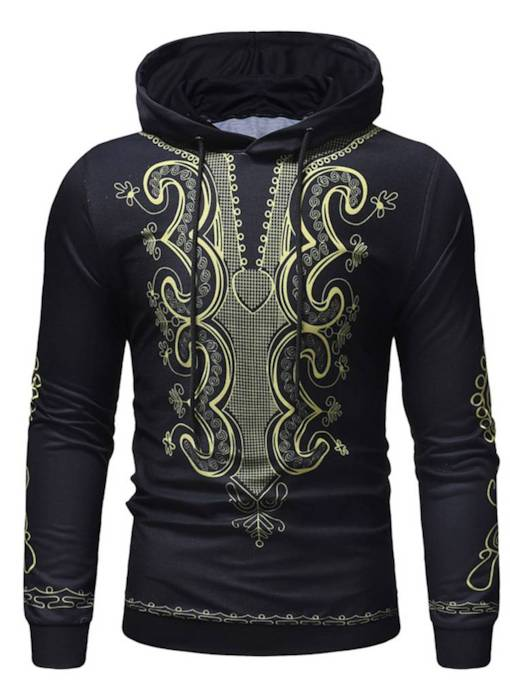 Dashiki Slim Pullover Geometric Print Thin Men's Hoodie