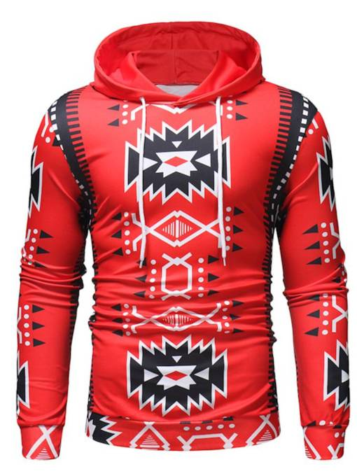 Loose Pullover Geometric Print Thin Men's Hoodie