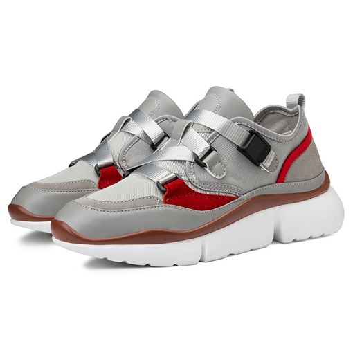 Canvas Buckle Round Toe Color Block Casual Stylish Men's Trainers
