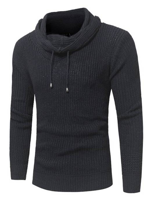 Slim Heap Collar Plain Men's Sweater