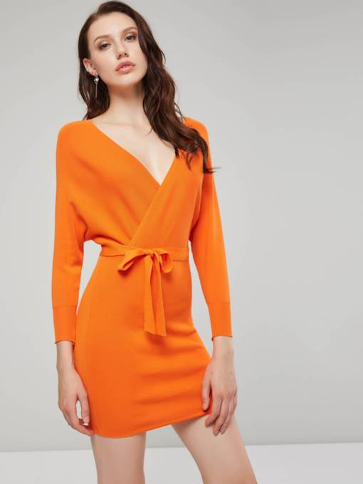 V-Neck Women's Long Sleeve Dress