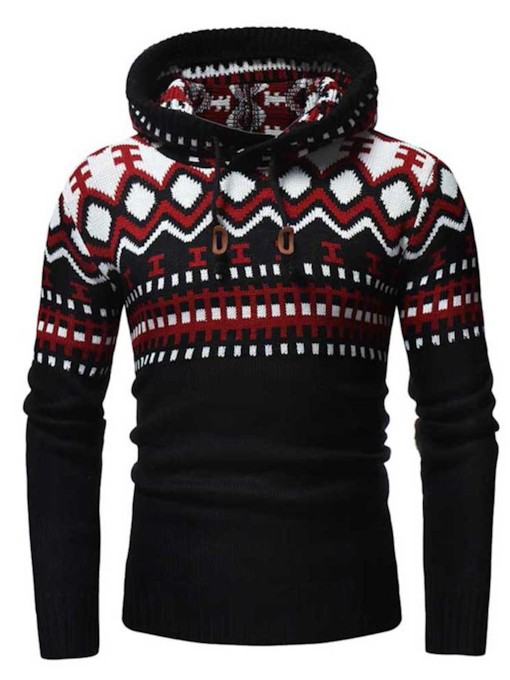 Slim Hooded Color Block Patchwork Men's Sweater