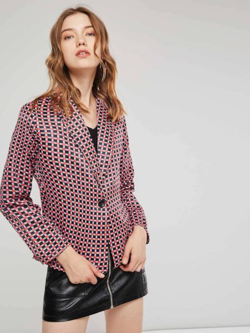 Notched Lapel One Button Plaid Women's Blazer
