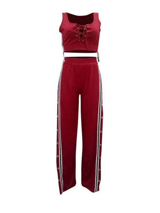 Striped Drawstring Vest and Split Pants Women's Two Piece Set