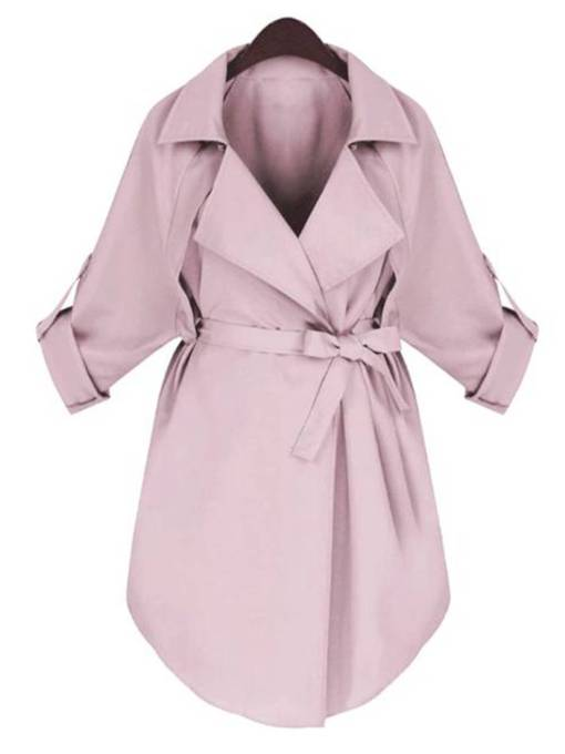 Belt Mid-Length Lapel Solid Color Women's Trench Coat