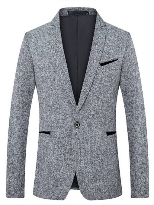SlimNotched Lapel One Button Plain Men's Blazer