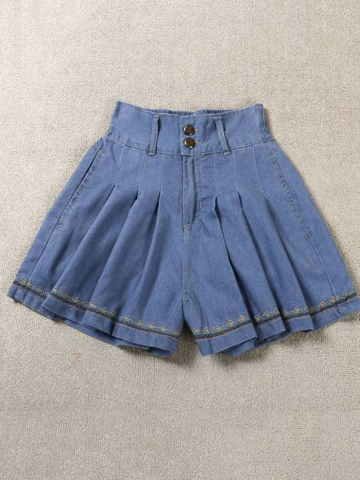 High Waist Casual Button Pleated Women's Shorts