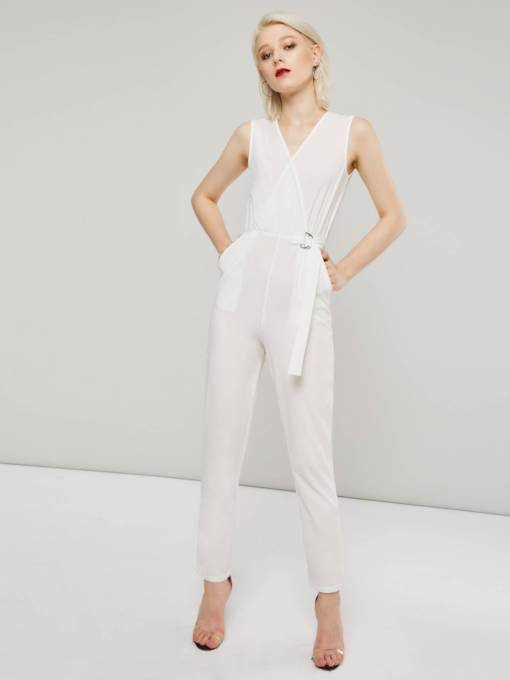Sleeveless V Neck Tie Waist Women's Jumpsuit