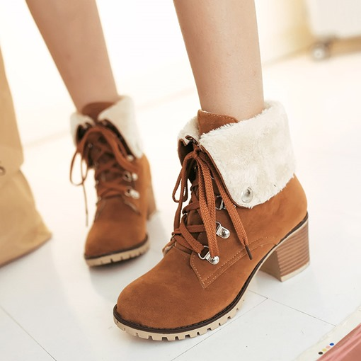 Lace-Up Front Chunky Heel Round Toe Purfle Stylish Martin Boots
