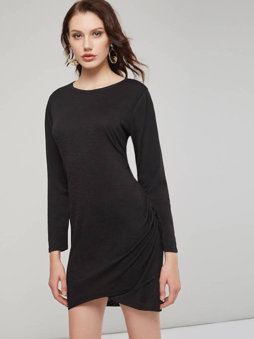 Long Sleeves Asymmetric Women's Bodycon Dress