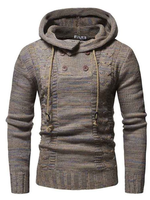 SlimHooded Button Plain Men's Sweater