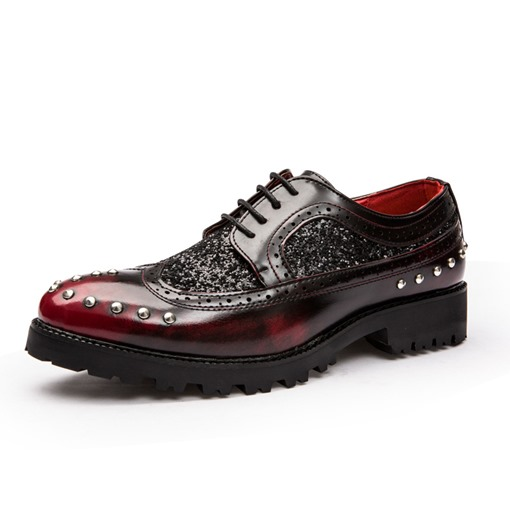 Lace-Up Round Toe Beads Brush Off Sewing Glitter Men's Dress Shoes