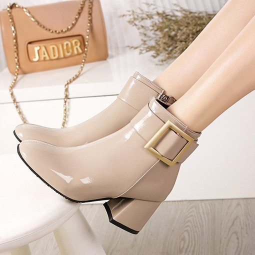 Round Toe Side Zipper Buckle Chunky Heel Plain Women's Ankle Boots