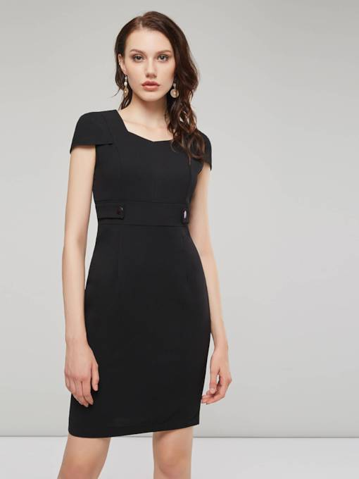 Black Cap Sleeve Square Neck Women's Sheath Dress