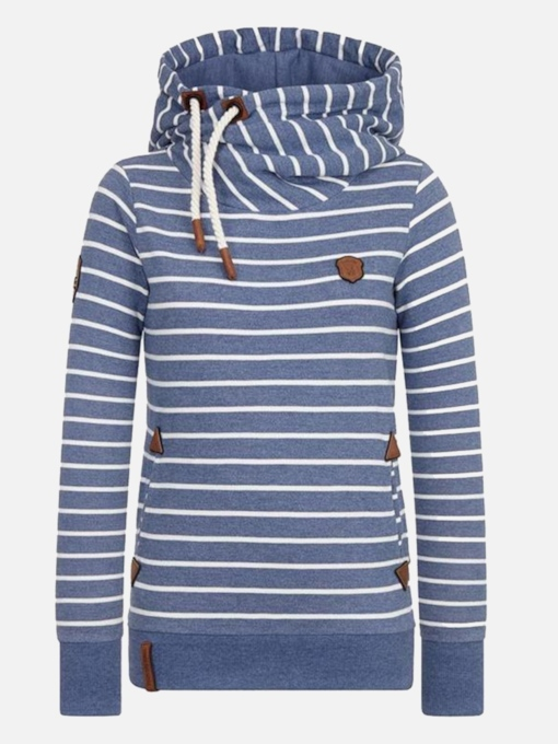 Color Block Stripe Pullover Women's Hoodie