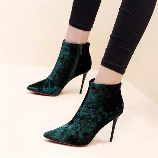 Suede Pointed Toe Stiletto Heel Side Zipper Women's Ankle Boots