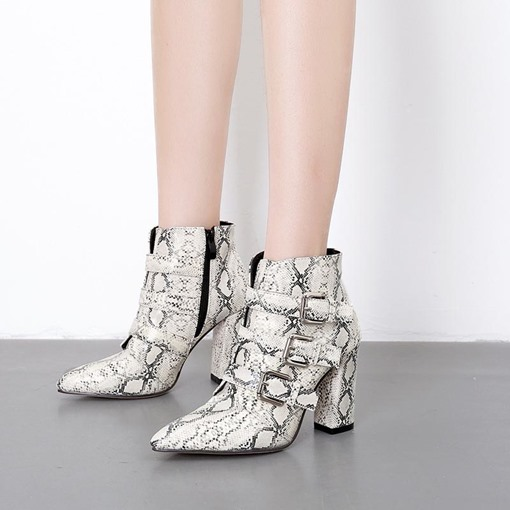 Pointed Toe Side Zipper Serpentine Buckles Women's Ankle Boots