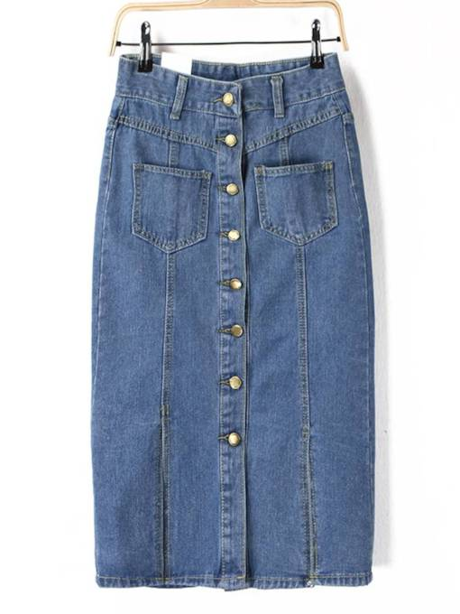 Single Breasted Split Pocket Women's Denim Skirt