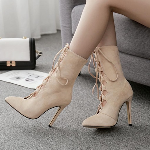 Suede Pointed Toe Lace-Up Front Stiletto Heel Women's Ankle Boots