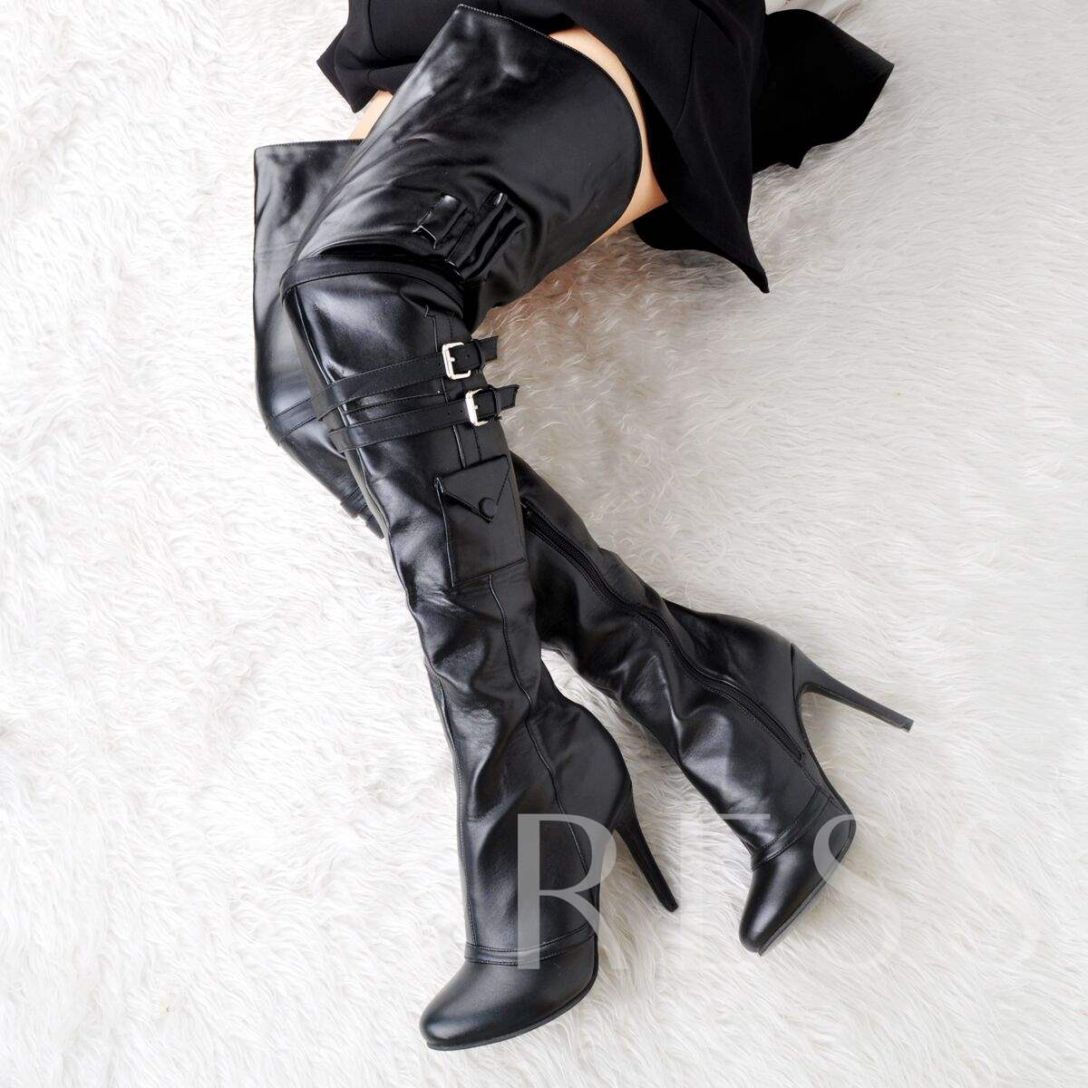Pointed Toe Side Zipper Stiletto Heel Sexy Otk Boots
