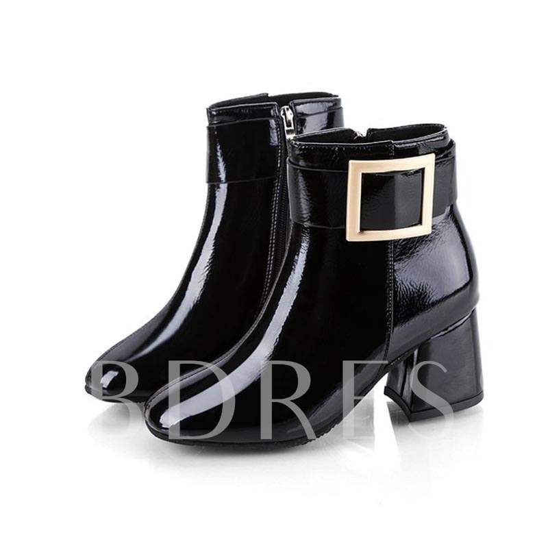 Buy Round Toe Side Zipper Buckle Chunky Heel Plain Women's Ankle Boots, Spring,Fall,Winter, 13421230 for $28.89 in TBDress store