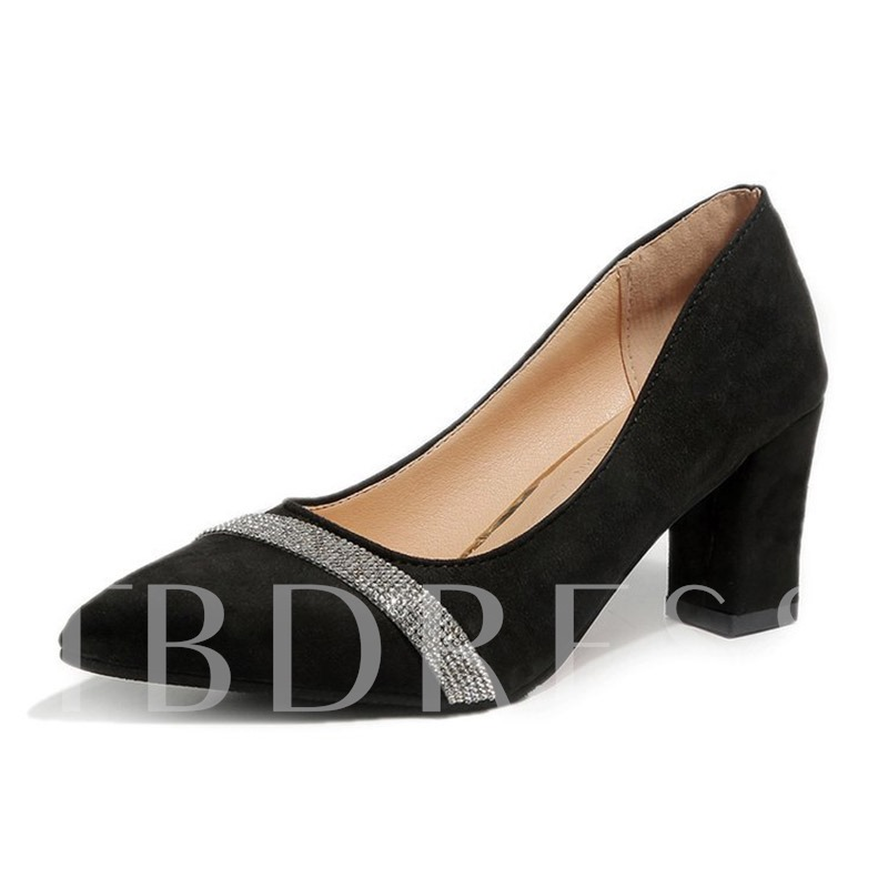 Buy Suede Slip-On Rhinestone Chunky Heel Pointed Toe Women's Pumps, Spring,Summer,Fall, 13421202 for $28.35 in TBDress store