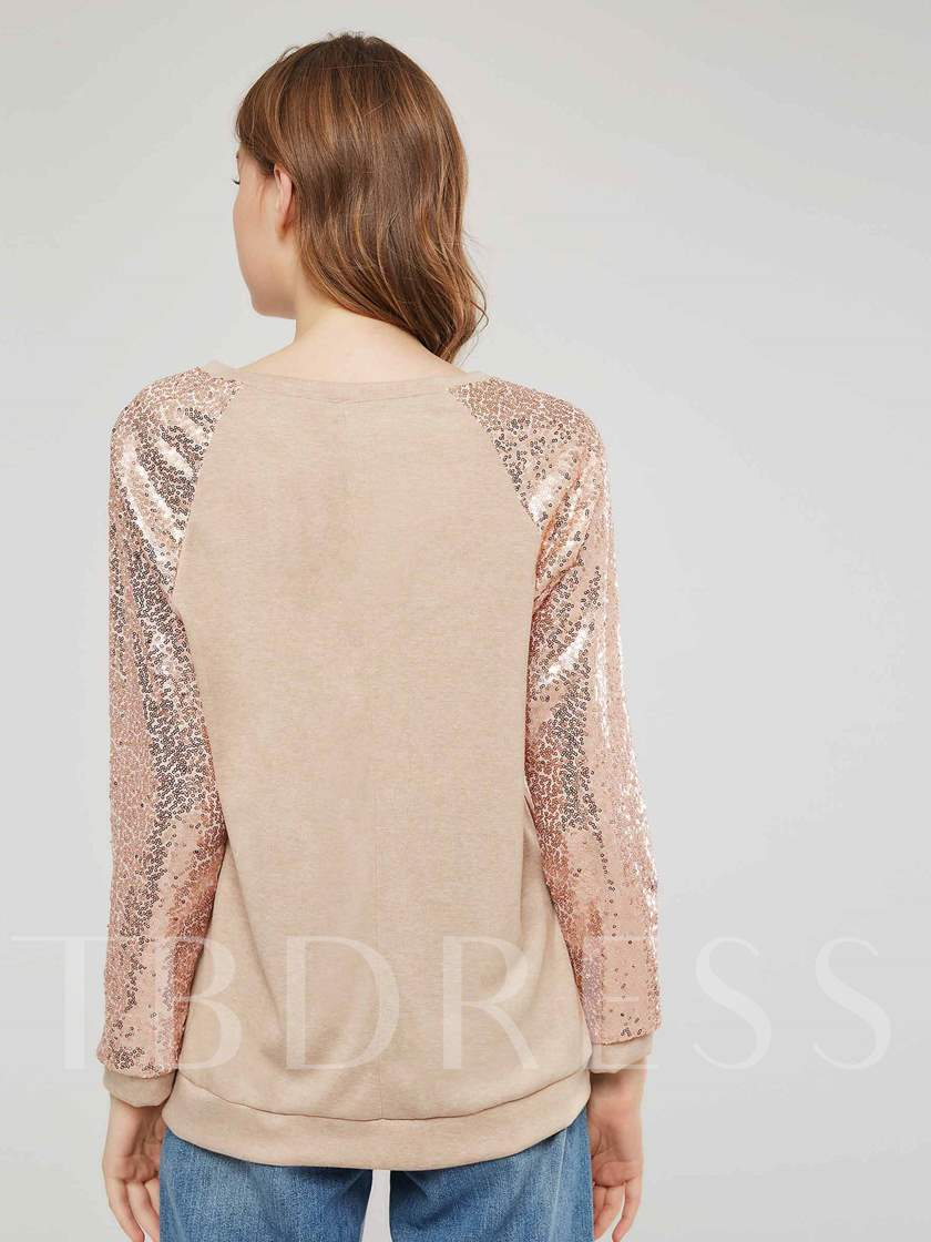 Sequins Long Sleeve Scoop Neck Women's Sweatshirt