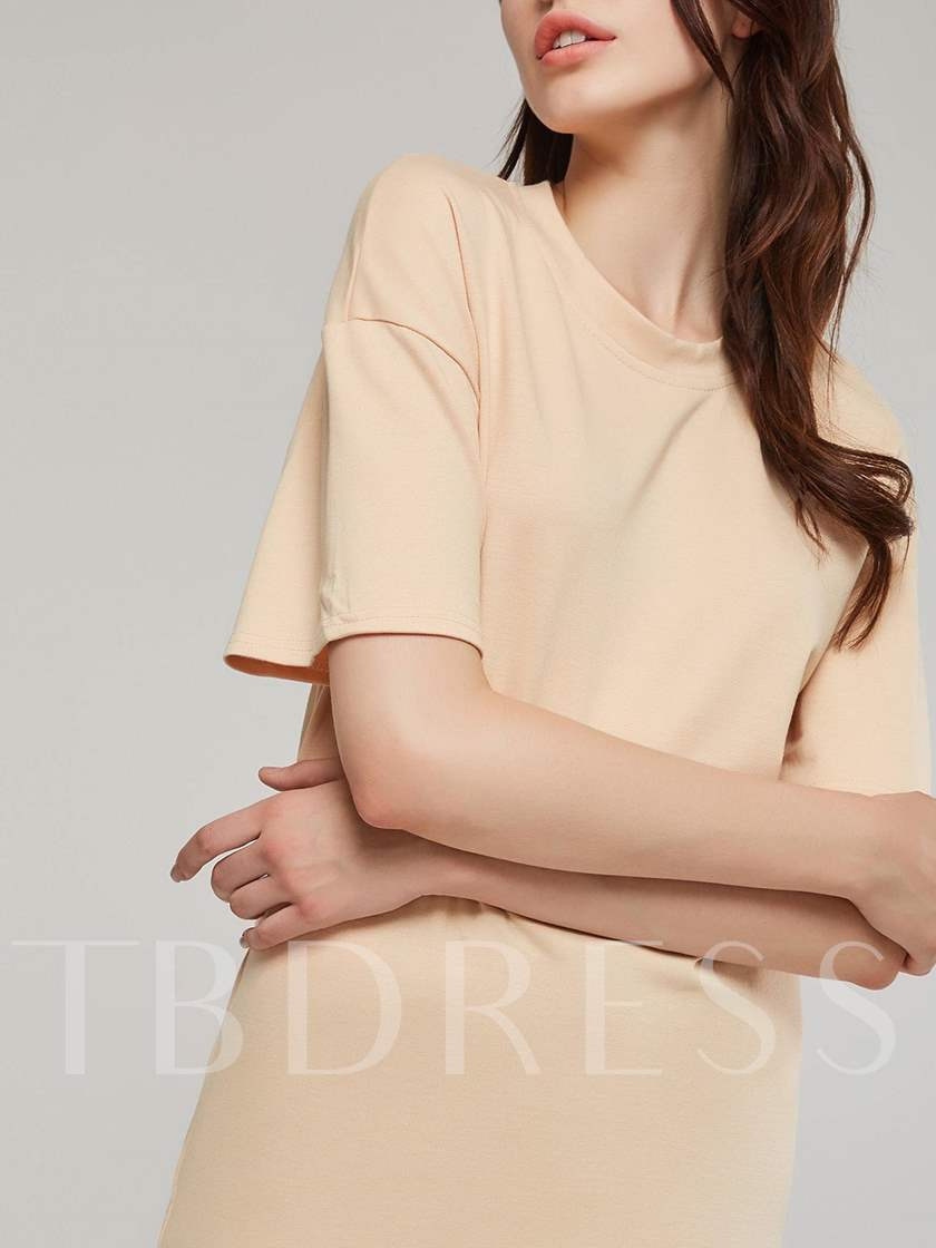 Straight Half Sleeves Women's Day Dress