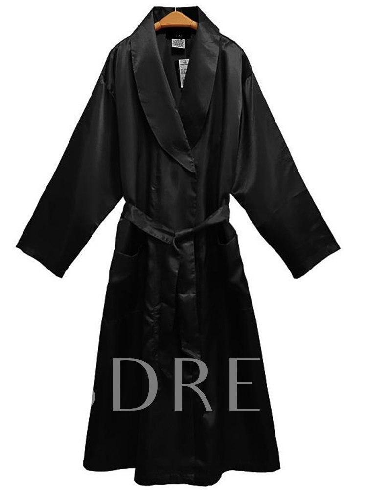 A-Line Belt Lapel Women's Long Sleeve Dress