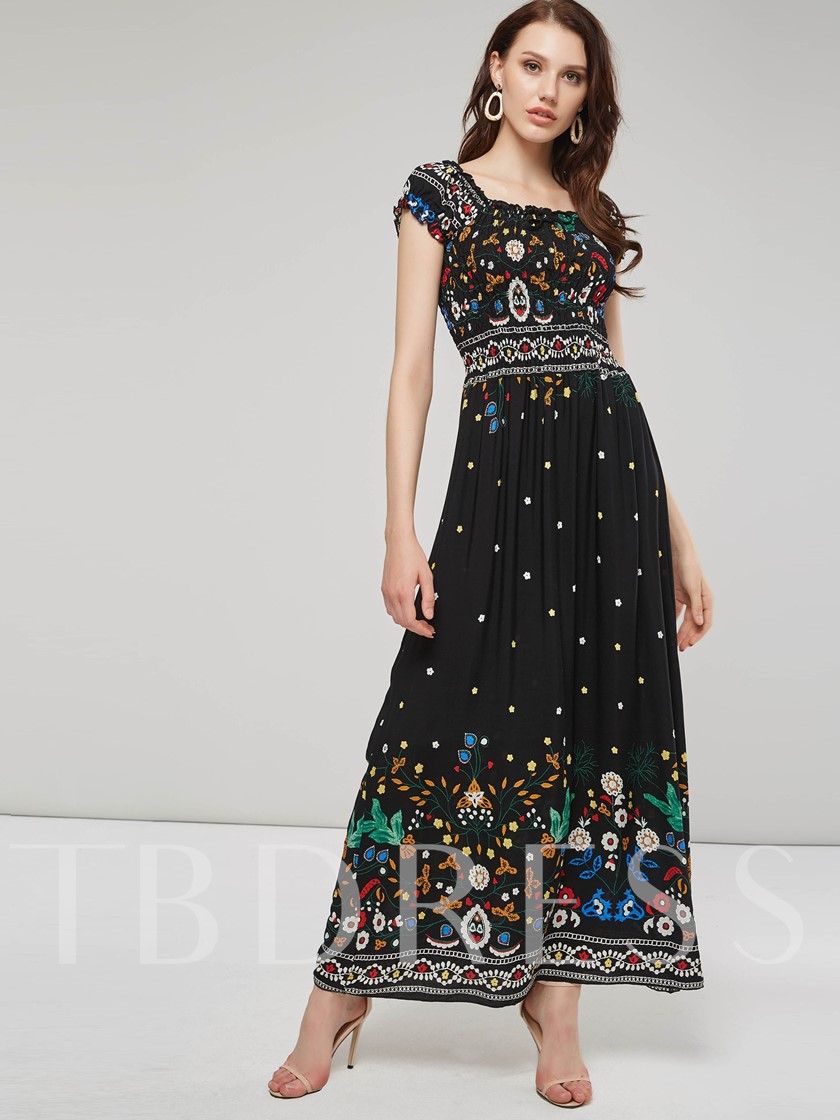 Slash Neck Floral Women's Maxi Dress
