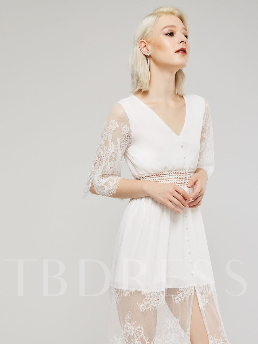 White 3/4 Length Sleeves Women's Lace Dress