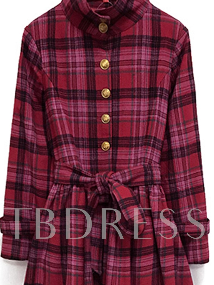 Single-Breasted Plaid Women's Long Sleeve Dress