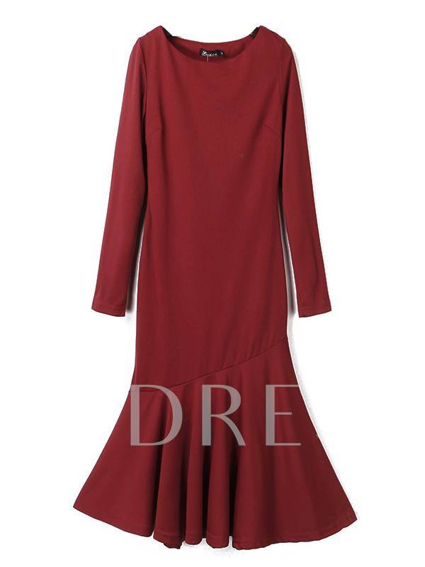 Red Mermaid Scoop Women's Long Sleeve Dress