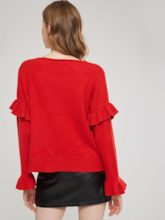 Ruffle V-Neck Loose Women's Sweater