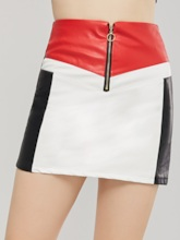 Color Block Patchwork Zipper Women's Mini Skirt