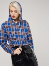 Plaid Pullover Drawstring Women's Hoodie