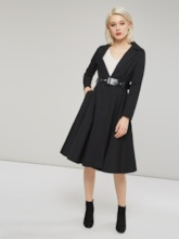 Notched Lapel Belt Mid Length A-Line Women's Trench Coat