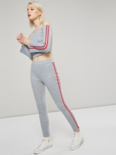 Stripe Off Shoulder Skinny Top and Pants Women's Two Piece Set