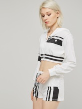 Short Stripe Lace-Up Hoodie and Shorts Women's Two Piece Set