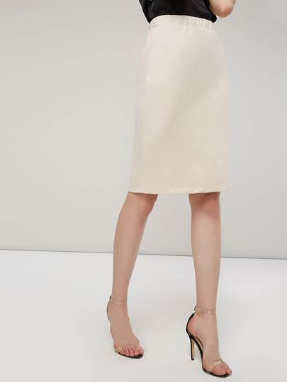 Image of Plain Bodycon Knee Length Womens Skirt