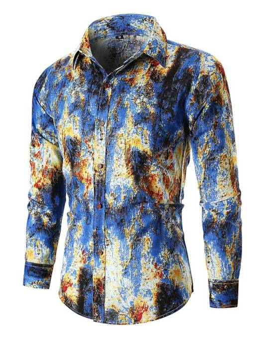 Slim Casual Lapel Print Men's Shirt