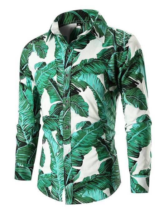 Slim Casual Lapel Plant Print Men's Shirt