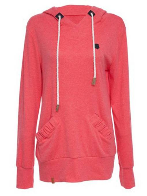 Hooded Double Pocket Pullover Mid Length Women's Hoodie