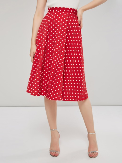 Polka Dots A Line Mid Calf Women's Skirt
