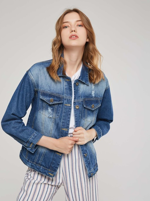 Sequins Letter Single-Breasted Women's Denim Jacket