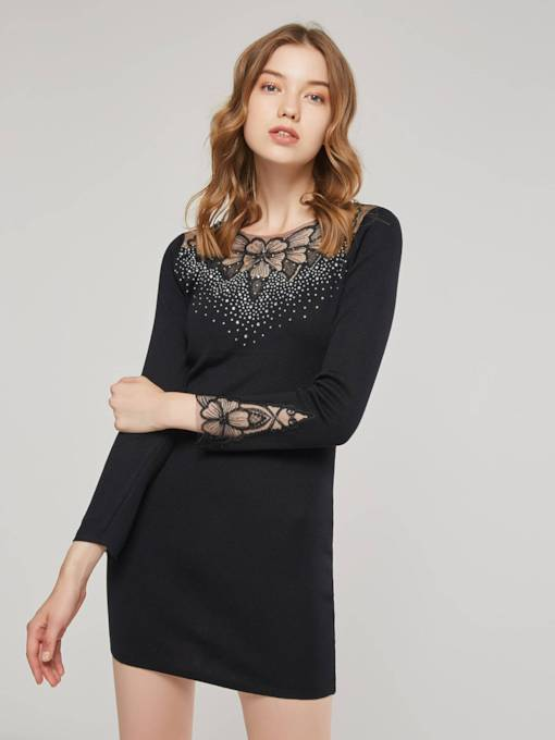 Diamonds Long Sleeve Women's Bodycon Dress